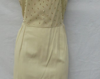Cream beaded  dress Dauphine by l'Aiglon wiggle pencil cocktail mid century   50s 60s medium  from vintage opulence on Etsy