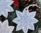 Ceramic Lace Snowflake Ornament Set . Handmade Pottery Christmas Tree Ornaments