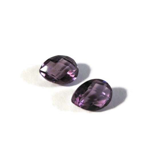 Two NON DRILLED Gemstones, Matching Purple Amethyst Teardrops for Making Jewelry & Setting, 8mm x 6mm (Luxe-Nd5)