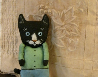 RESERVED for Wendy , boy cat art doll , little black cat , sandy mastroni, whimsical ,  wall art doll , shelf art,