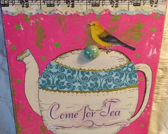 Teatime collage mixed media art, painting, original, teacup art, vintage materials
