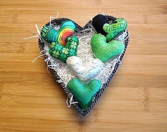St. Patrick's Day Hearts Ornaments  Bowl Fillers Spring Decorations