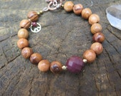 Gemstone & Wood Beaded Bracelet - Burgundy Mookaite - Peace Sign - Gold Copper Funky Eclectic - Crystal Yoga Jewelry - Free Spirited People