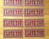 I LOVE YOU Red Hand Printed Letterpress Cards 8 Pack a10
