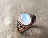Rainbow Moonstone and Pink Silver- The Ivy Ring