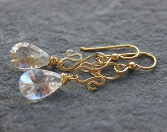 Gemstone  Earrings,Gold Earrings, Holiday gift, briolette gemstone earrings, wire wrapped dangle earrings