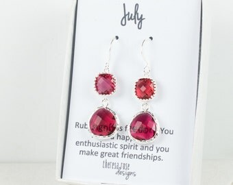 July Birthstone Silver Earrings, Long Ruby Silver Earrings, July Ruby Earrings, July Birthstone Jewelry, Bridesmaid Jewelry