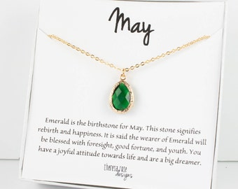 May Birthstone Gold Necklace, Emerald Teardrop Necklace, May Birthday Jewelry, Personalized Gold Necklace, Bridesmaid Gift, Gifts Under 20