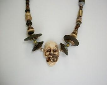 Bog Mummy, VooDoo, Shrunken Head, Zombie Head Necklace