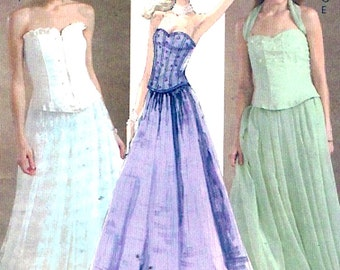 Prom top skirts grad evening wear Brides new Years sewing pattern McCalls 4833 size 4 to 10 or 8 to 14 2 sizes to choose from Uncut