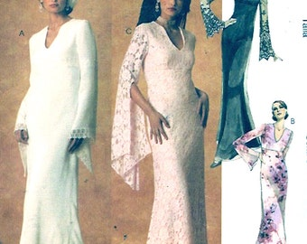Floor length gown dress with bell sleeves Evening wear party Bride New Years McCalls 4083 sewing pattern Sz 6 to 12 UNCUT