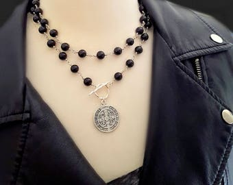 Silver Medallion St Benedict Coin Necklace, Black Bead Wire Wrapped Necklace, Toggle Clasp, Sterling Silver, Coin Jewelry, Religious Jewelry