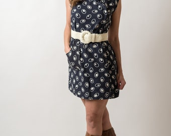 Vintage Dark Navy Blue Lime Bean Shift Dress (Size Medium)