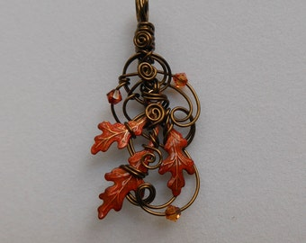 Fire Oak Leaves Pendant -- Autumn Flame Red-Orange Oak Leaves, Sculpted Antique Brass Wire, Swarovski Crystals