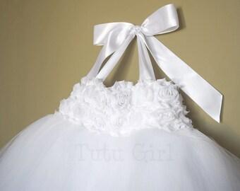 White Flower Girl Dress, Girls White Tulle Dress