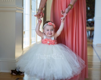 Light Coral Flower Girl Tutu Dress, Coral Tutu Dress , Apricot and IVORY SEWN Tutu Girls Dresses, Custom Colors and Sizes - You Design It