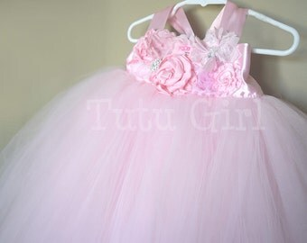 Pink Flower Girl Dress, Light Pink, Pastel Pink, Junior Bridesmaid Tutu Dress