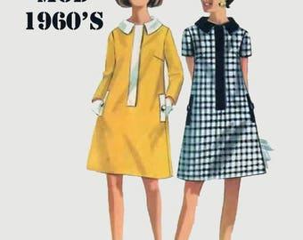 Vintage 1960s Mod Mini Shift Dress  Sewing Pattern Butterick 4708 Vintage 60s Retro Sewing Pattern Size 16 Bust 38
