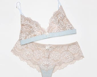 Silk & lace 2 pc lingerie set- cream ivory white and blue, lacey bralette bralet bra knickers panties boyshorts thong panty with silk undies