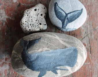Whale Beach Pebble Art Hand painted Whale, natural Zen stones