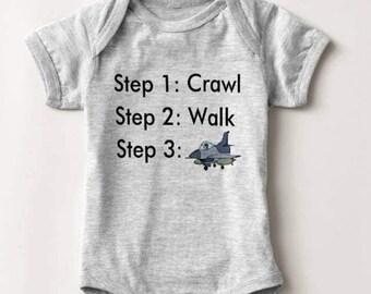 Jet Fighter Military Baby Bodysuit Infant Newborn Boy Girl Shower Gift