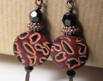 Animal Print Leather Niobium Earrings