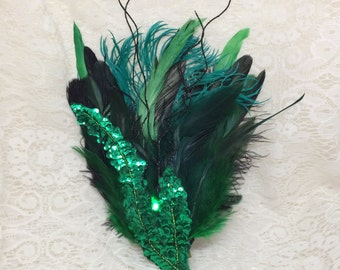 Green and black LED hair fascinator - steampunk feather hair clip - burlesque hair fascinator with LED light - green and black light up clip