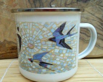 Swallows Enamel Mug - Bird Camping Mug - Bird Mug -  Swallow Mug - Gardening Gift for Him - Camping Gift Gardening Mug Swallow Art Mosaic
