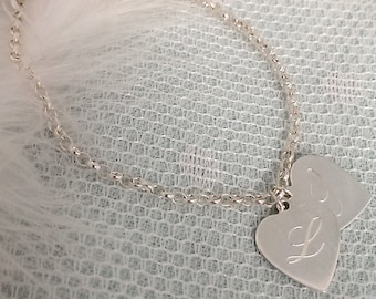WHOLE LOTTA LOVE Vintage Inspired Sterling Silver Personalised Double Heart Bracelet