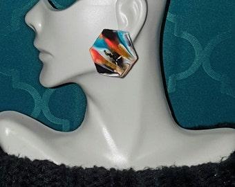 Marbled Earart- SMALL  (Neon Orange, Black, Gold, Aqua, White, Gold Glitter)
