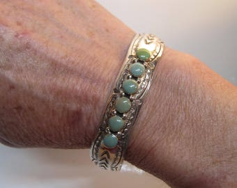 Native American Southwestern Sterling Silver Hand Stamped Bezel Set Green Turquoise Cuff Bracelet - Size 7-8   1441