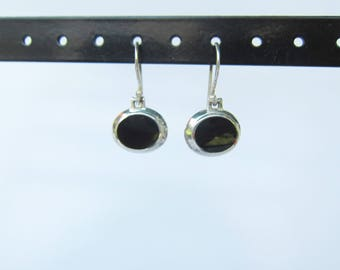 Sterling Silver and Inlaid Black Onyx Dangle Earrings - 1553B