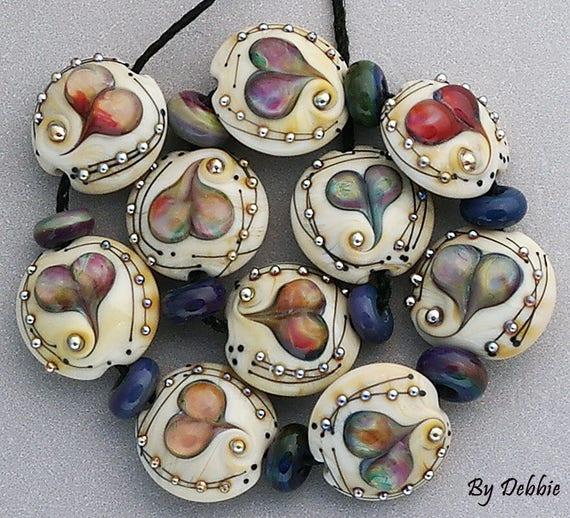 Glass Beads,Heart Beads,Handmade Lampwork Beads,Debbie Sanders,Bead Heart,Beads For Jewelry,Jewelry Supplies,Lentil Beads,SRA Beads,Bead