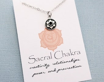 Sacral Chakra Necklace | Yoga Jewelry | Chakra Charm Pendant | Sanskrit Charm | Meditation Jewelry | Quote Card | Sterling Silver