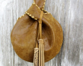 Dark Mustard Iridescent Leather Wristlet with Double Tassel by Stacy Leigh