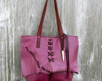 Distressed Magenta Leather Mini Tote Bag by Stacy Leigh
