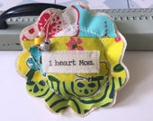 fabric scrap modern patchwork I heart Mom lavender sachet ornament, flower shape appliquéd Mother's Day fabric flower pillow sachet - No. 80