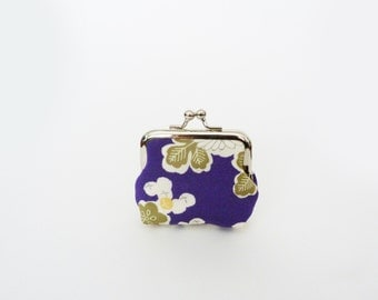 Coin purse, purple floral vintage Japanese kimono fabric