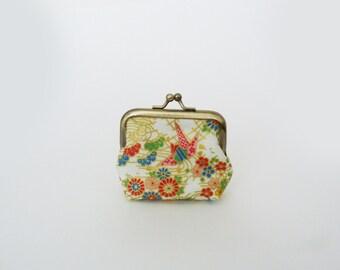 Coin purse, multi colour and gold decorative cotton Japanese design