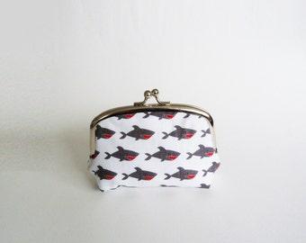 Coin purse, novelty shark fabric, cotton pouch