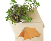 Tent card (no.1) - triangle orange tent / camping / holiday / vacation / adventure / travel themed card - recycled / eco friendly