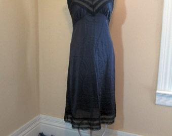 Sheer Lace Black Slip vintage 70s Black silky nylon V bodice lace Slip Black 1970s Vintage Wedding lingerie nylon slip M