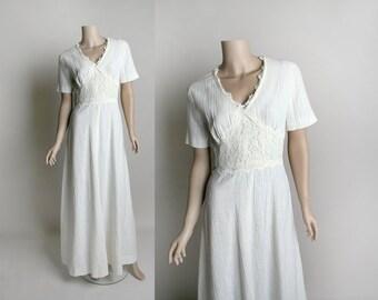 Vintage 1970s Gauze Maxi Dress - Oatmeal White Bias Cut Lace Panel Bohemian Floor Length Gown - Small