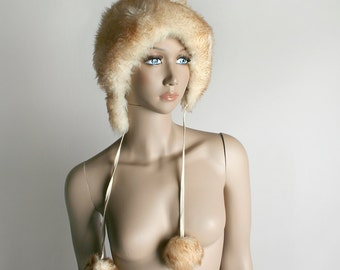 Vintage 1960s Fur Hat - Ski Bunny Snow Winter Fur Bonnet with Pom Poms - Made in Italy - Cream Ombre