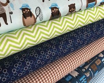 Brawny Bears Fabric Bundle of 6, Bear Fabric, Fishing, Canoe, Greatest Adventure, Boy fabric, Plaid fabric, Robert Kaufman- Choose the cuts