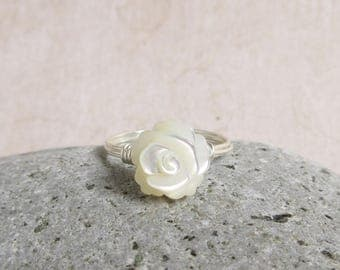 Rose Ring, Mother Of Pearl, Cream White Flower, Sterling Silver Wire Wrapped Jewelry