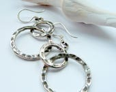 RESERVE for Adjani Artisan Fine Silver Hand Hammered Double Hoop Metalwork Sterling Silver Boho Gypsy Tribal Rustic  Long Dangle Earrings