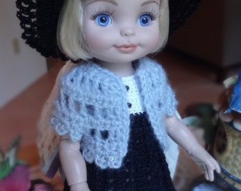 Crochet Sweater for Tonner Half Pint Doll 10 1/2  11 inch Shrug Balero color soft grey with sparkle