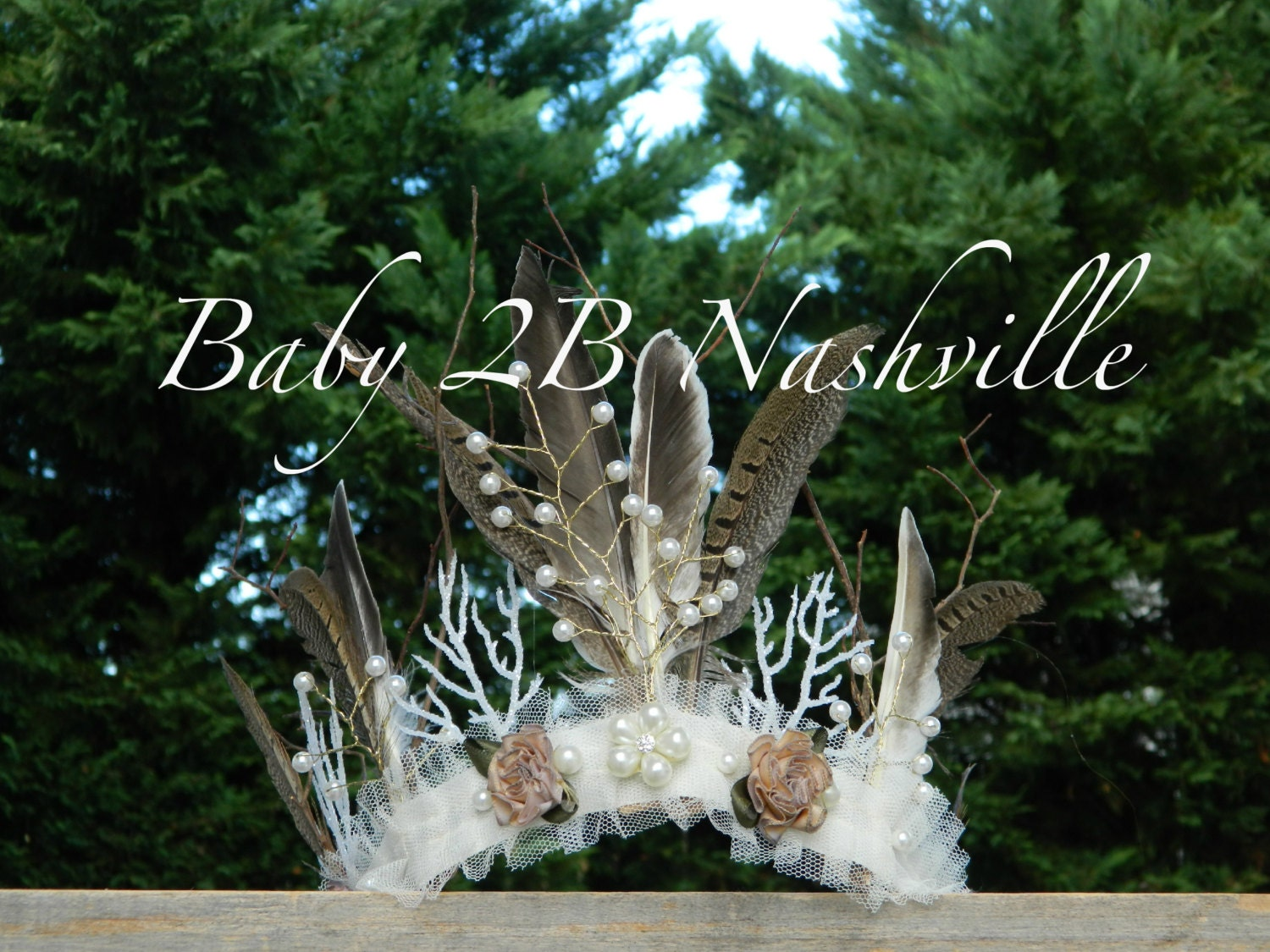 wedding tiara feather crown woodland tiara crown winter fairy