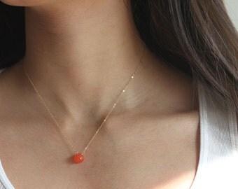 GENUINE Orange Gemstone Necklace EXQUISITE Carnelian Faceted Necklace Minimalist Jewelry